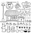 line hand drawn doodle set of coffee shop vector image vector image