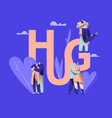 love couple character hug banner happy lover vector image vector image