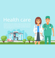 man and woman doctor banner vector image