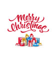 merry christmas lettering script ink sign vector image vector image