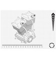 motorcycle engine and cogwheels vector image vector image