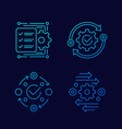project management efficiency line icons vector image vector image