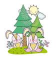 rabbits wild animals cartoon vector image