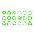 recycle icons reuse eco arrow and bio garbage vector image vector image