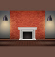 red brick wall room with fireplace vector image vector image