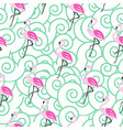 seamless pattern with flamingo vector image vector image