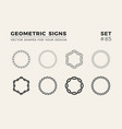 set of eight minimalistic trendy shapes stylish vector image