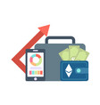 set of icons with ico blockchain concept vector image