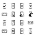 set of mobile function line icon vector image