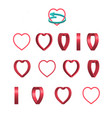 sheet of sprites rotation of cartoon 3d heart vector image vector image