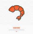 shrimp thin line icon modern vector image