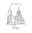single continuous line drawing prague castle vector image