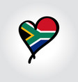 south african flag heart-shaped hand drawn logo vector image