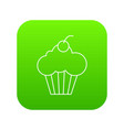 sweet cupcake icon green vector image vector image