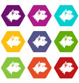 terrier dog icon set color hexahedron vector image vector image