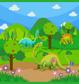 three dinosaurs in the forest vector image vector image