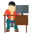 Tired employee sitting in office vector image