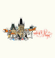 welcome to prague - travel card with charles vector image