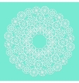 White lace serviette on blue background vector image