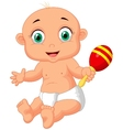 Cute baby cartoon playing with macara toy vector image