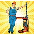 Beautiful professional Builder with electric drill vector image