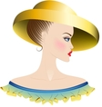 Lady in yellow hat and dress with ruches vector image