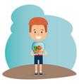 boy with aquarium fish character vector image