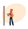 worker workman builder in helmet overalls and vector image