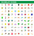 100 belay icons set cartoon style vector image vector image
