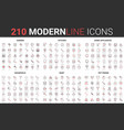 210 red black thin line household modern icon set vector image