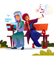 arabian couple dating with smartphones vector image