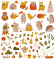 big set with forest animals and collection vector image vector image