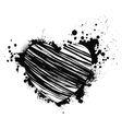 black grunge heart vector image