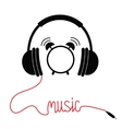 Black headphones with red cord in shape of word vector image