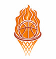 burning basketball ball in a basket vector image vector image