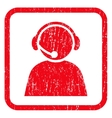 Call Center Operator Icon Rubber Stamp vector image