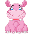 Cartoon happy hippo sitting vector image vector image
