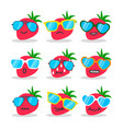 cartoon strawberry emojis with sunglasses vector image