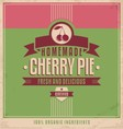 Cherry pie vintage poster vector image vector image