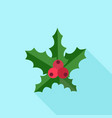 christmas red berry icon flat style vector image vector image