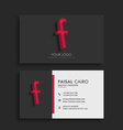 clean dark business card with letter F vector image