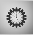 clock gear icon isolated a grey background vector image vector image