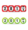 counter new year 2017 in red and green vector image