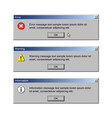 critical error warning and information messages vector image