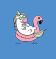 cute cartoon unicorn swimming on pool ring vector image