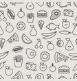 different food silhouette icons seamless pattern vector image vector image
