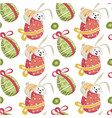 easter bunny sitting on decorative egg seamless vector image vector image