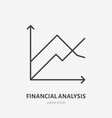 financial analysis flat logo chart graph icon vector image