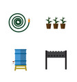 flat icon dacha set of flowerpot container vector image vector image