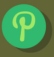 Flat icon of pinterest on background with shadow